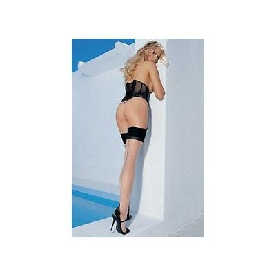 Leg Avenue Two Tone Thigh High Plus Size 1024QLEG Nude/Black One Size Fits All -