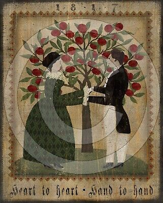 Primitive Folk Art Heart to Heart Hand to Hand Colonial Couple - PRINT ONLY 8x10