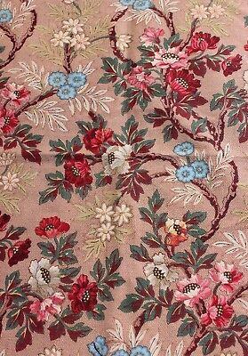 Antique Hand Blocked French Printed Chinoiserie Cotton Fabric c1870-1880