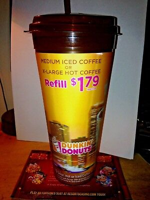 DUNKIN DONUTS 24oz Travel  Mug Cup Hot/Cold Coffee $1.79 Refill-New-Expired date