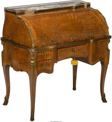 A LOUIS XV-STYLE PARQUETRY AND BRONZE-MOUNTED CYLINDER BUREAU WITH ... Lot 65732