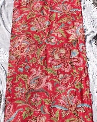 Antique French Indienne/Jacobean Hand Blocked Home Dec Cotton Fabric c1820