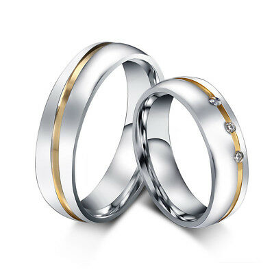 Fashion Women's Men's 316l Stainless Steel Band Ring For Wedding 6 MM Size 5-12