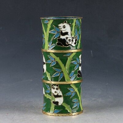 Chinese Cloisonne Handwork Carved Panda & Bamboo Pen Holder EP0327