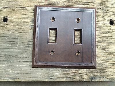 Vintage UNILINE BAKELITE Ribbed DOUBLE Wall Light Switch Plate Cover Lined