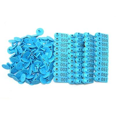 001-100 Blue Number Plastic Livestock Ear Tags Animal Tag for Goat Sheep Pigs