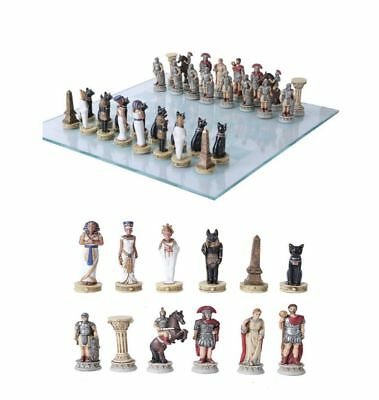 Pharaoh Egyptian Vs Caesar Roman Empire Resin Chess Pieces With Glass Board Set