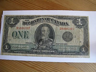 1923 Dominion of Canada $1 Dollars Bank Note Black Seal Serial D8006397