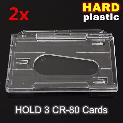 2Pcs Hard Plastic Transparent Horizontal ID Card Holder Clear Badge Cover Case