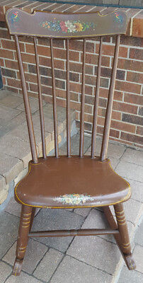 Painted Boston Rocking Chair-Brown-Floral-Birds of Paridise-Spindles-Vtg Antique