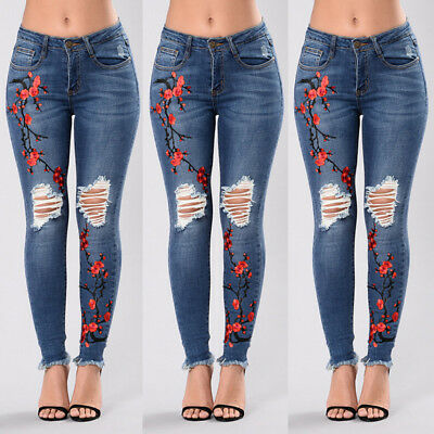 Women's Denim Skinny Ripped Pants High Waist Stretch Jeans Slim Pencil Trousers