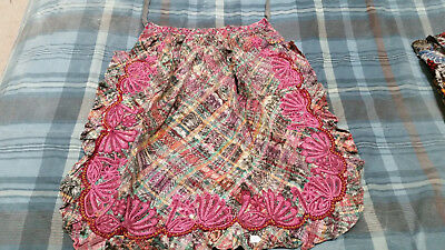 Handmade Used Apron from Guatemalan textiles and feminine pink embroidery