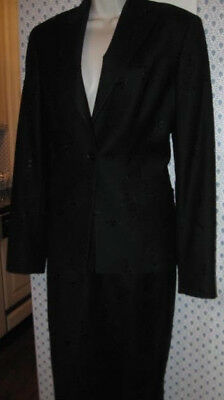 Richard Tyler Woman's Black Sequined Skirt Suit Size 10 --Made In Italy -Euc!