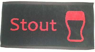 NEW - Pub/Bar Towel - Beer - Stout - Red on Black