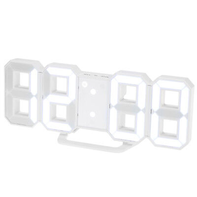 Fashion 8 Shaped Digital LED Wall Clocks Snooze Function with USB Charging White