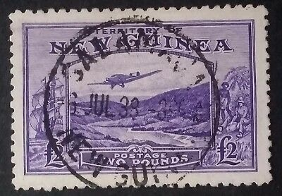 Very Rare 1935- New Guinea £2.00 Bright Violet Bulolo Stamp Used Salamaua