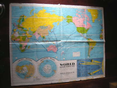 Vintage WORLD MODERN SCHOOL MAP By Chas. H. SCALLY, Leacock, AUSTRALIA, 1950's?