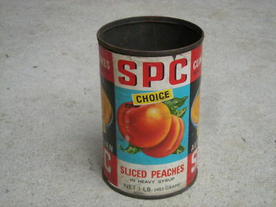 Vintage SPC 'Sliced Cling PEACHES', 1 lb TIN CAN, 1960's, Paper Label...