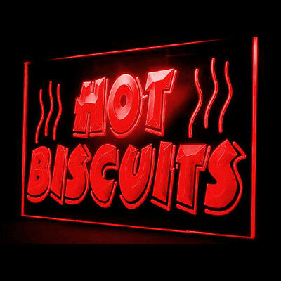 110048 Hot Biscuits Shop Cafe Coffee Nutritious Bread Sandwiches LED Light Sign