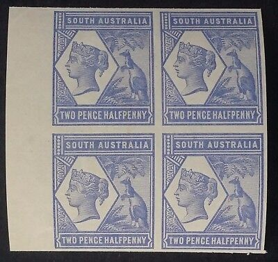Rare 1894- South Australia Blk of 4 X 2 1/2d Violet Blue Imperf Proof stamps MUH