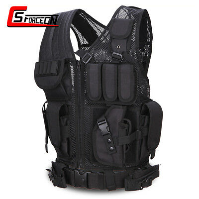 Utility Tactical Police SWAT Military Molle Assault Vest with Mag Pouch Black