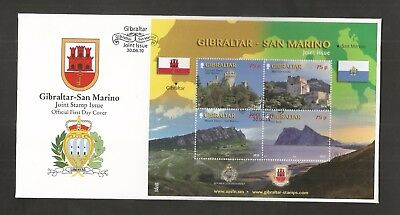 Gibraltar 2010 Joint Issue With San Marino Minisheet Fdc Sg,ms1364 Lot 5091A
