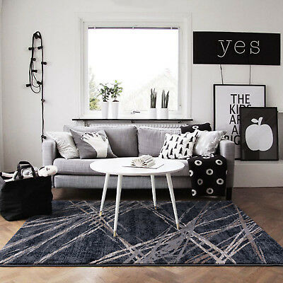 Large Charcoal Grey Floor Rug Abstract Pattern Super Soft Modern Carpet 190x280