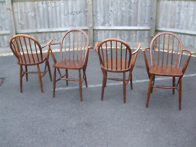 Set of four (4x) vintage Ercol Windsor elbow chairs, 1940s WW2 Utility furniture