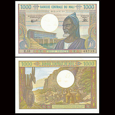 Mali 1000 (1,000) Francs, 1970-84, P-13e, African banknote, UNC