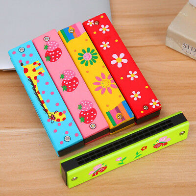 1*Wooden Harmonica 16 Holes Double Row Enlightenment Musical Instrument for Kids