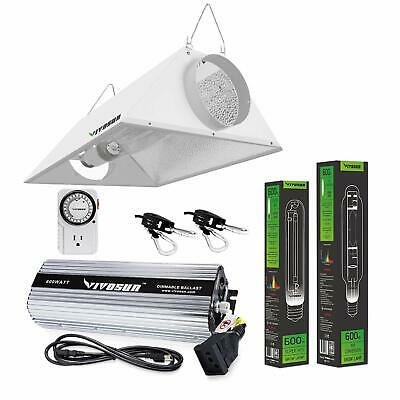 VIVOSUN 400w 600w 1000w Watt Ballast HPS MH Bulb Air Cool Hood Grow Light Kit