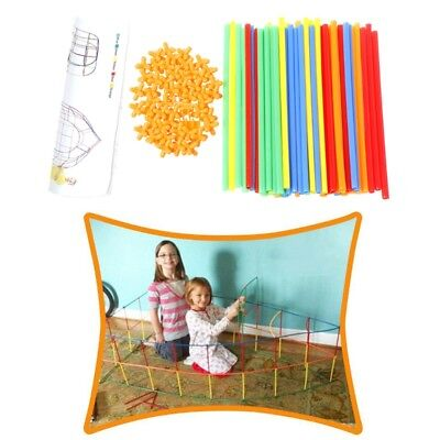 100PC Plastic Straw Assembled Building Blocks Children Educational Puzzle Toy DD