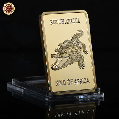 WR South Africa Crocodile Fine Gold Bar King Of Africa Wild Animal Souvenir Gift