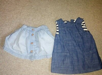 next baby girl denim dress and skirt 3-6 months