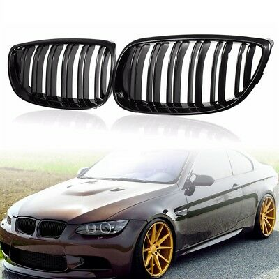 Gloss Black Twin Slat Grilles Grill For BMW E92 E93 3-Series 2Door Coupe 06-10