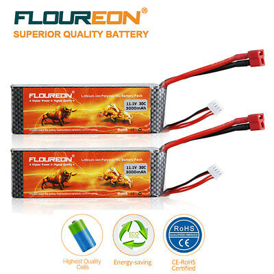 2x 3S 11.1V 3000mAh 30C LiPo RC Battery Pack T Plug for RC Airplane Helicopter