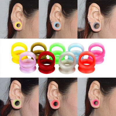 2pc Flesh Tunnel Flexible Silicone Double Flare Saddle Ear Stretcher Plug 6-25mm