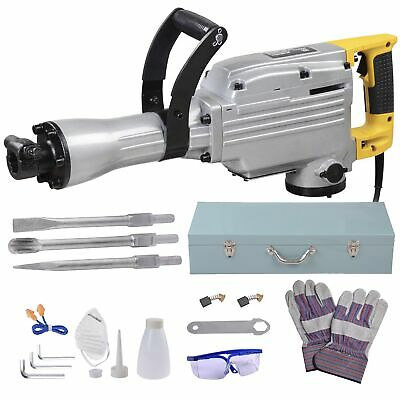 2200W Electric Commercial Jackhammer Demolition Jack Hammer Concrete + 3 Chisels