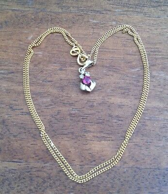 Solid Yellow Gold Ruby And Diamond Pendant on Solid Gold Chain