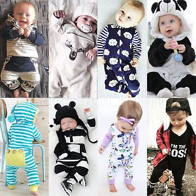 Newborn Infant Baby Boy Girl Long Jumpsuit Cotton Romper Bodysuit Outfit Clothes
