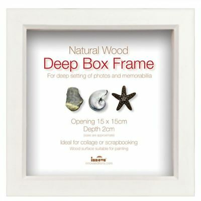 Innova Editions Wooden Deep Box Picture Photo Frame, White - 15cm x 15cm