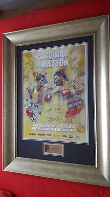 Uniquely framed Manny Pacquiao v Ricky Hatton Original hand signed fight poster.