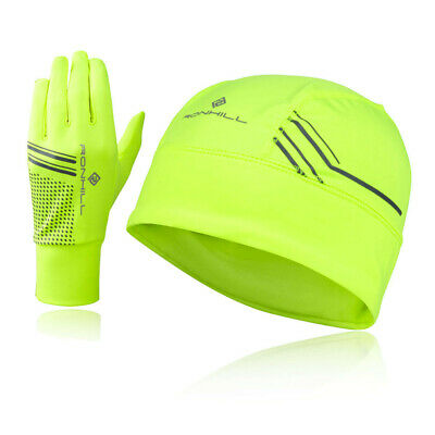 Ronhill Womens Sports Running Reflective Beanie And Glove Set Green