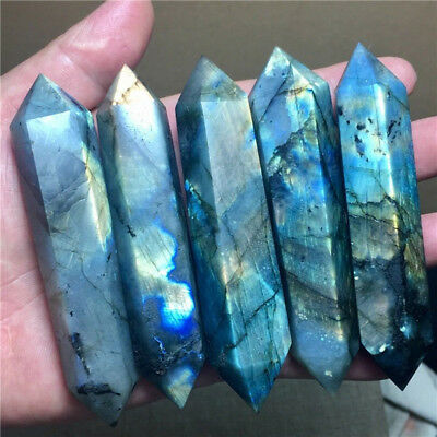 1Pc Natural Beautiful Labradorite Quartz Crystal Wand Point Healing Wholesale