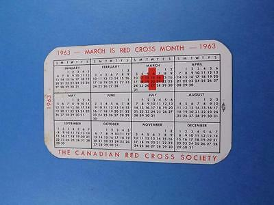 Pocket Calendar Vintage 1963 Canadian Red Cross Century Of Service 1863-1963