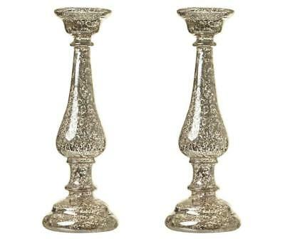 Set Of 2 Vintage Mercury Glass Candle Holders Candlesticks 27cm