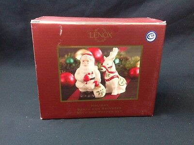 NEW Lenox Holiday Santa and Reindeer Salt and Pepper Set