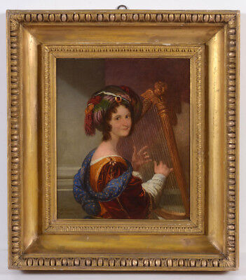 "Ferdinando Cavalleri ""Lady playing harp"", important oil painting!!, 1830"