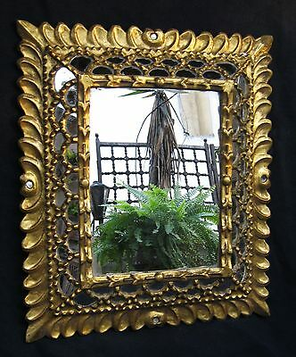 BEAUTIFUL ANTIQUE 1800s  HAND CARVED GILT WOOD MIRROR