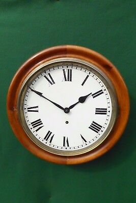 "ANTIQUE EARLY 20thC 12"" DAIL MAHOGANY STATION/SCHOOL CLOCK"